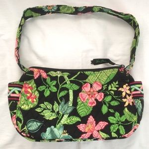 Vera Bradley Black/Green Floral Print Small Purse